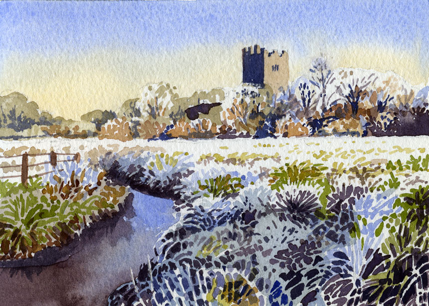 Dysert O'Dea Castle, Corrofin, Co Clare, Ireland, Watercolour