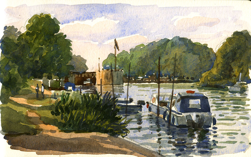 Thames, Molesey, watercolour