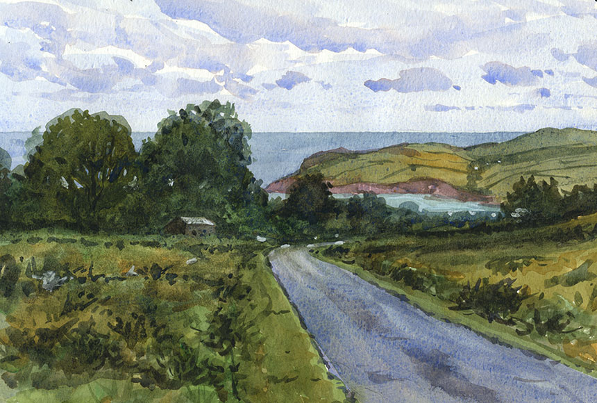 Newport, Pembrokeshire, Wales, sea, watercolour