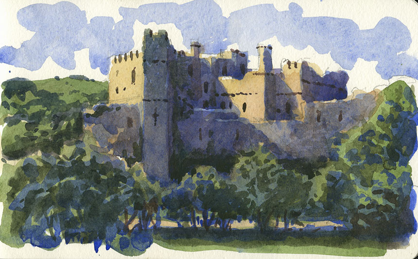 Manorbier Castle, watercolour