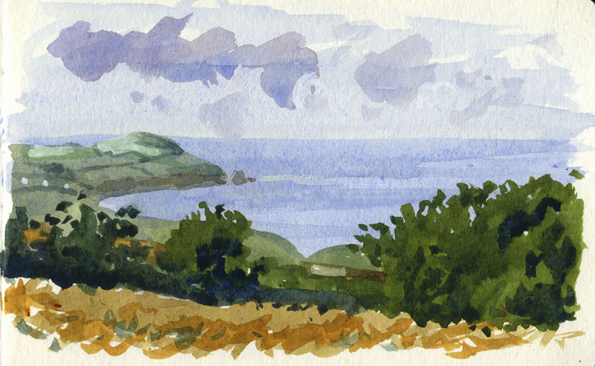 Newport bay, watercolor, Dinas head