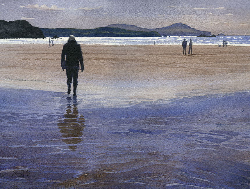 Whitesands, pembrokeshire, wales, watercolour