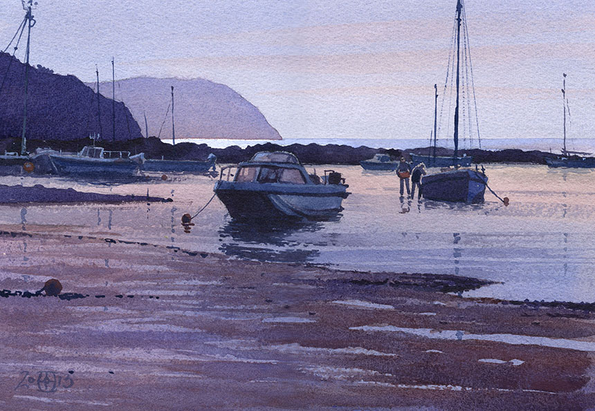 newport, pembrokeshire, wales, boats, sea, watercolour