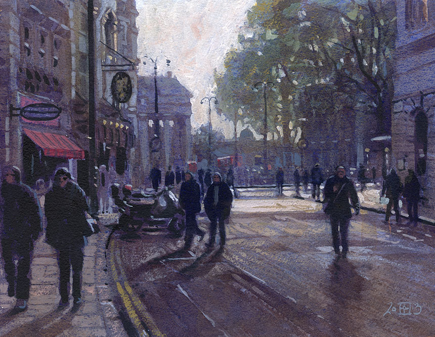 St Martins Lane, London, watercolour, plein air
