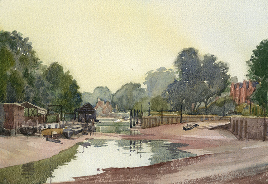 Isleworth, thames, watercolour, plein air, river