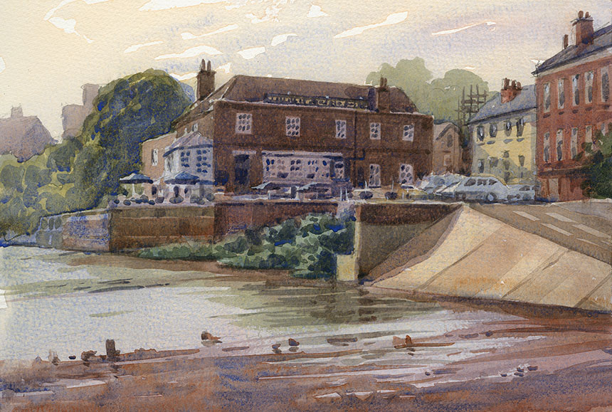 Isleworth, the london apprentice, thames, watercolour, plein air, wapping group