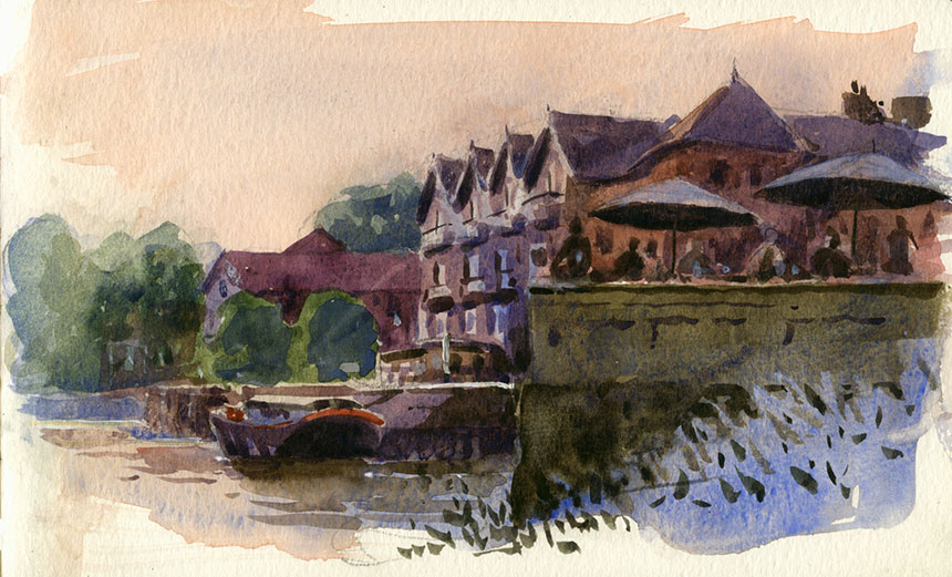 Isleworth, thames, watercolour, plein air