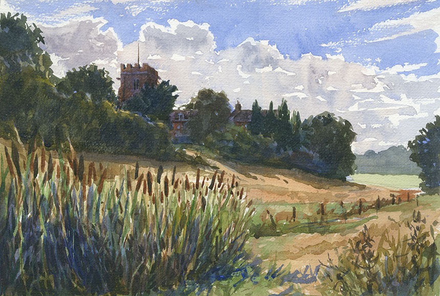 Heckfield Church, Surrey, watercolour, Plein air