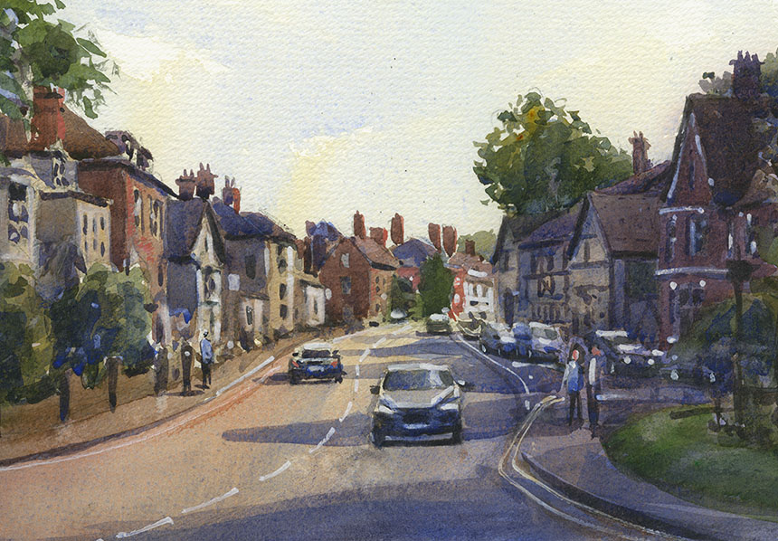 Hartley Wintney, Surrey, plein air, watercolour