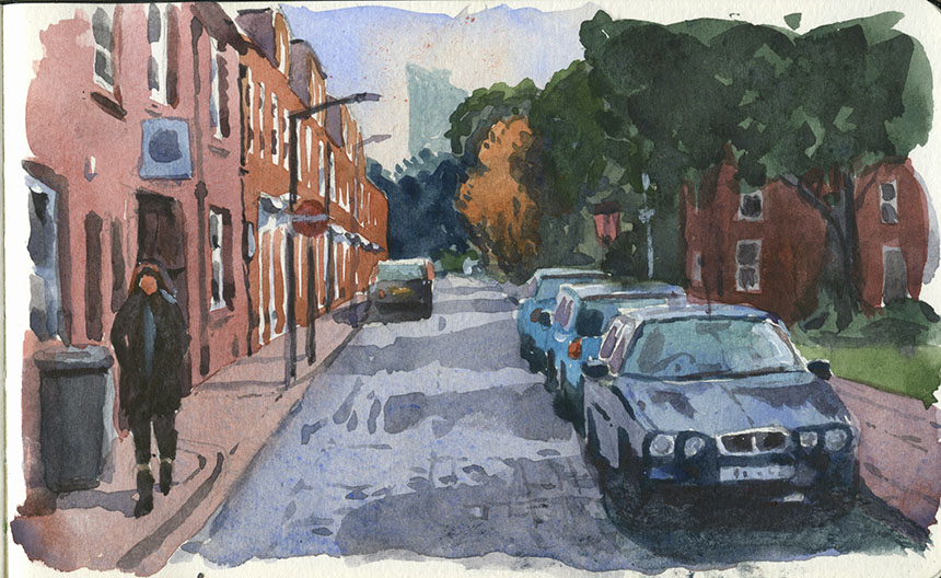 Albury St, Deptford, watercolour, plein air