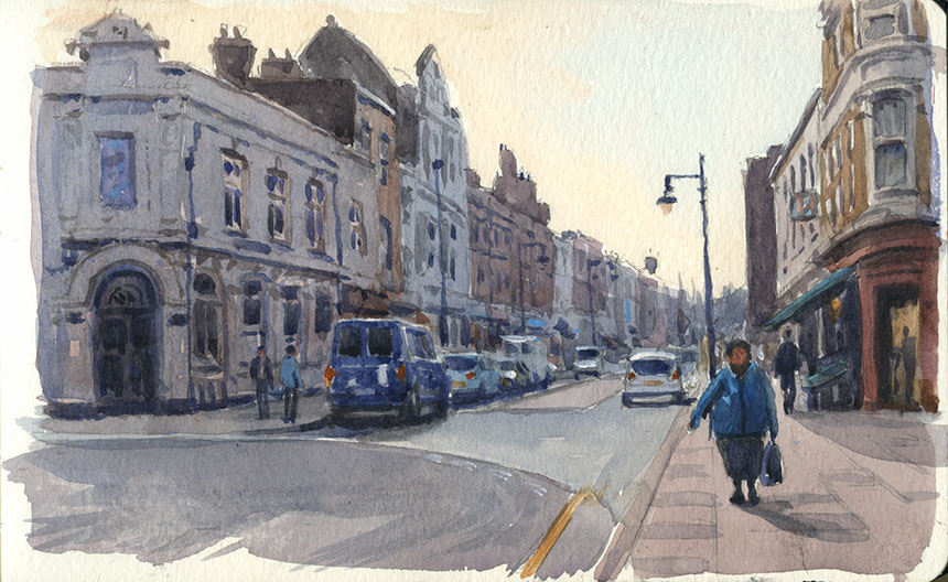 Deptford Market, Watercolour, plein air