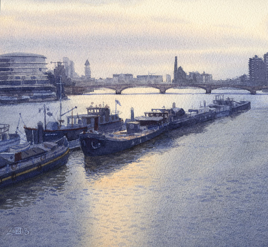 Battersea Bridge, Thames, london, watercolour