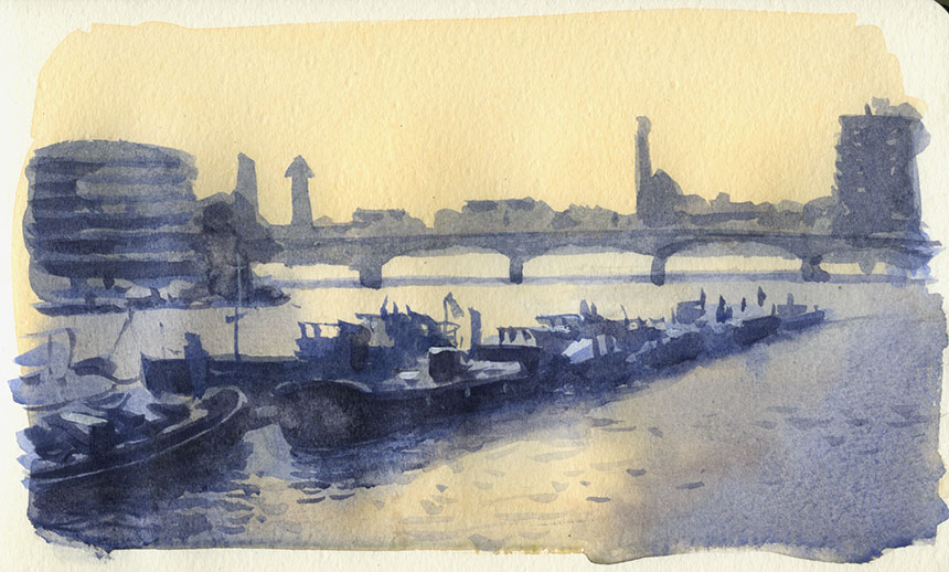 Battersea, Bridge, Thames, London, plein air