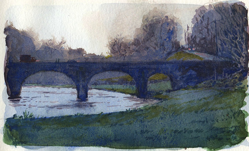 River Nore, Ireland, watercolour