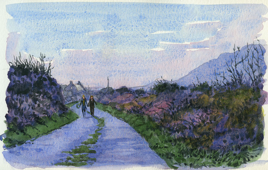 Burren, co clare, ireland, watercolour