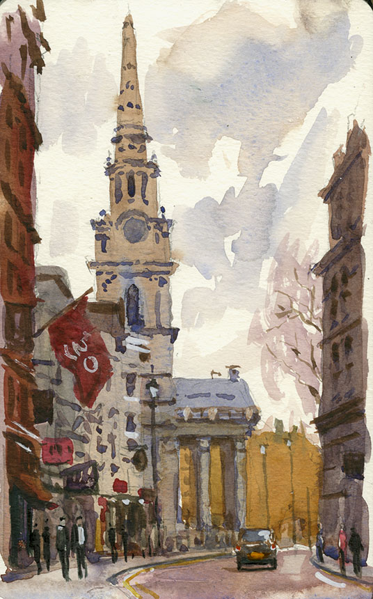 St Martins Lane, London, watercolour