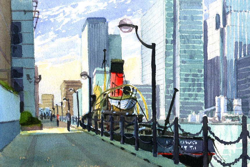 Isle of Dogs, Thames, Tug, water, marine, watercolour, plein air, watercolor, London