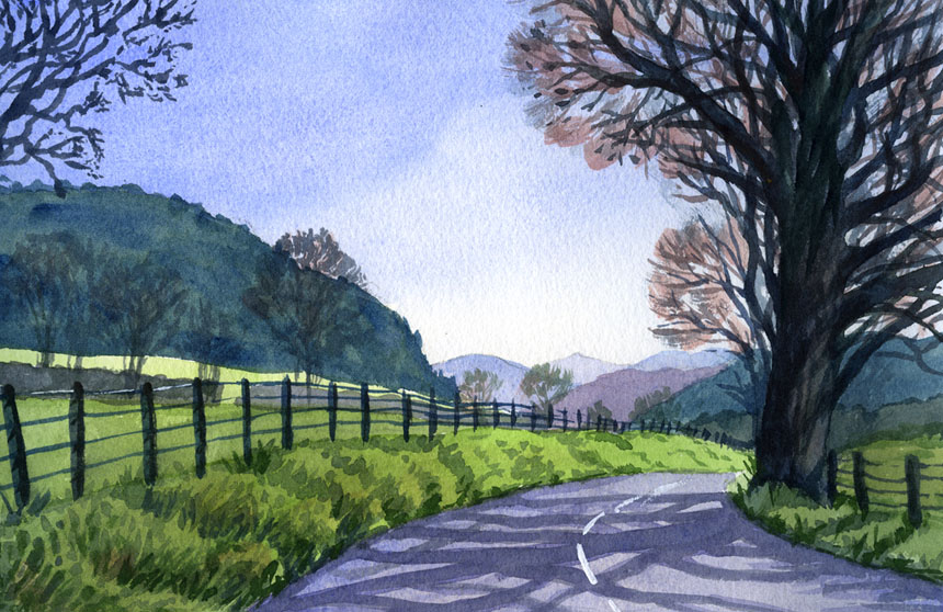 Ullswater, cumbria, lake district, plein air, watercolour