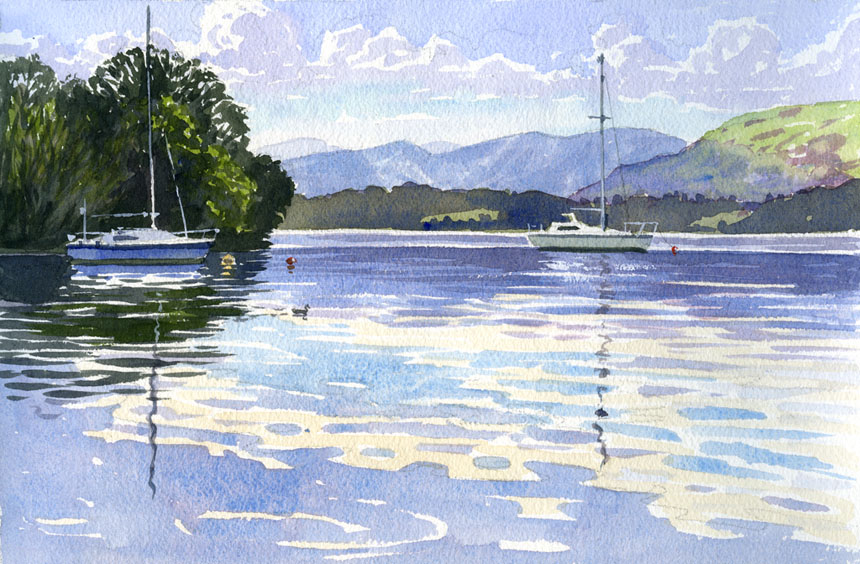 Ullswater, Cumbria, watercolour, plein air, painting