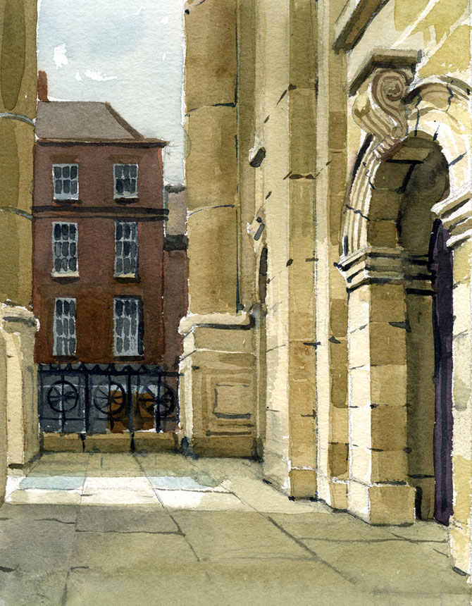 Spitalfields, London, watercolour, plein air