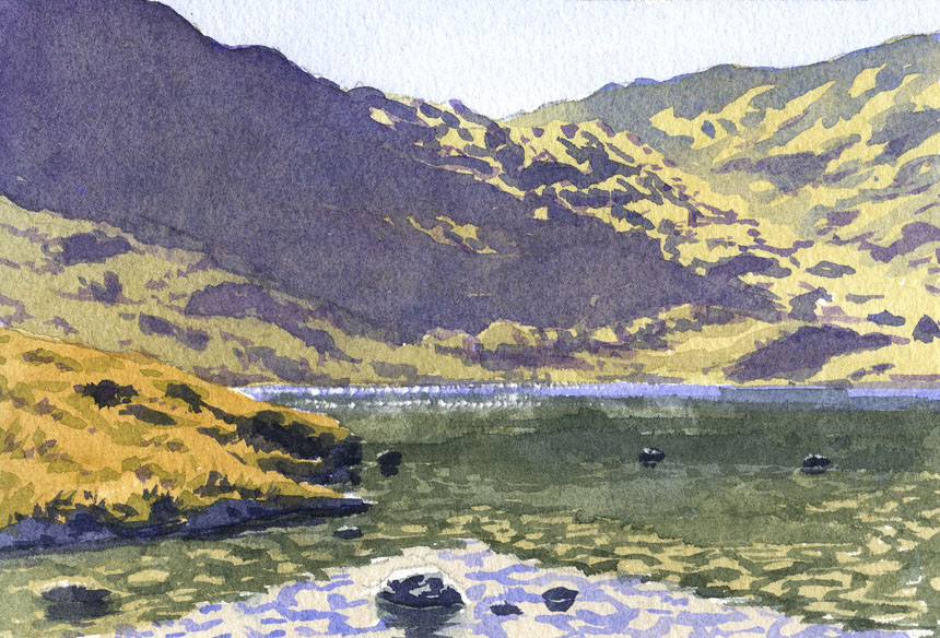 Small Tarn, Haweswater, Watercolour, plein air, painting