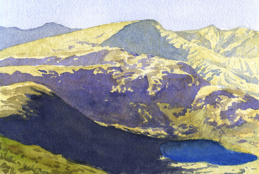 Small Tarn, Cumbria, High Street, Mountains, watercolour, plein air, painting