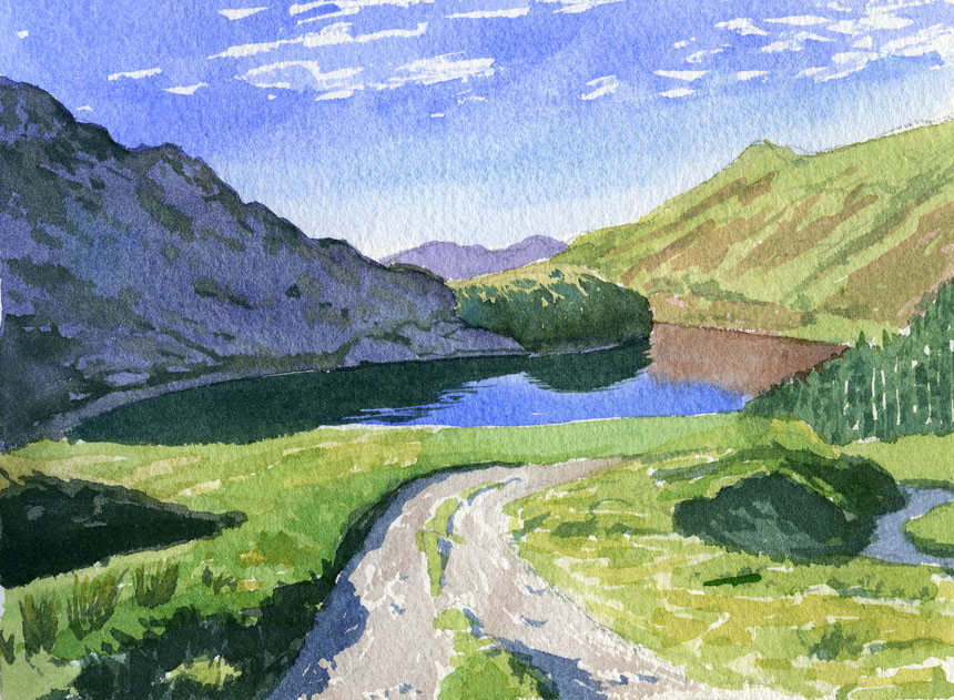 Haweswater, Cumberland, lake district, watercolour, painting, plein air