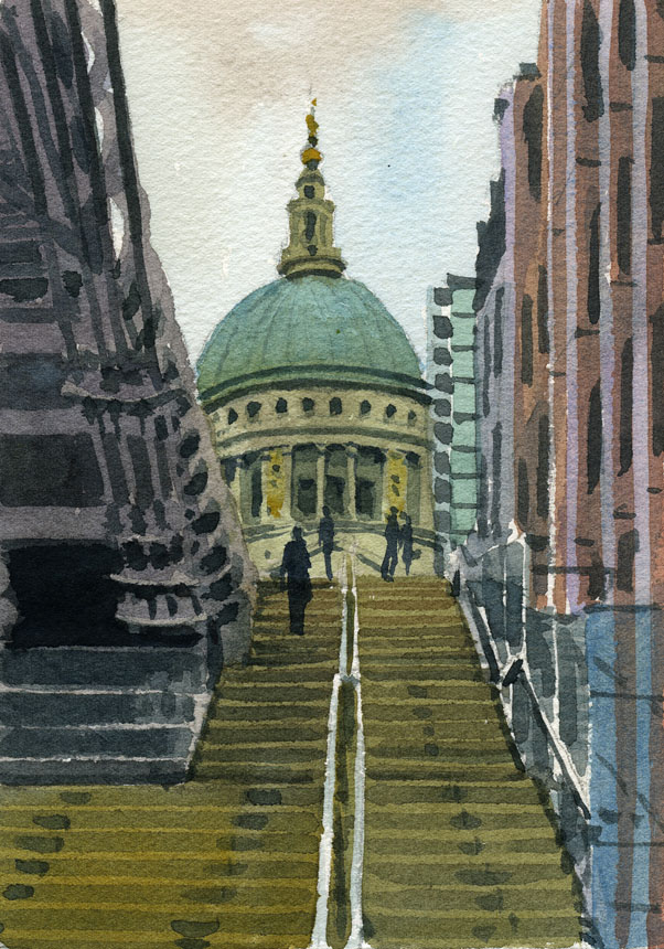 St Pauls, London, watercolour, plein air, Millennium, bridge