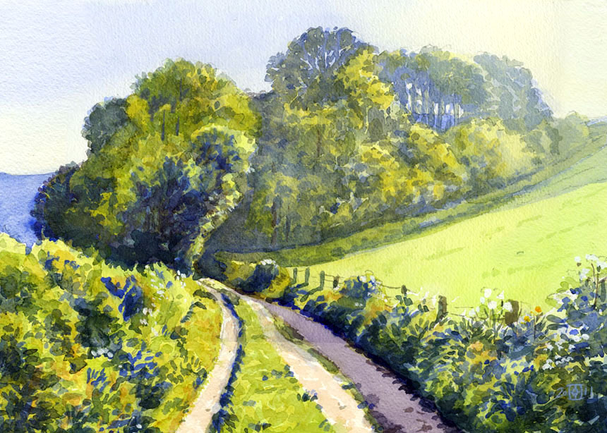 Dorset, Hambledon, watercolour, painting