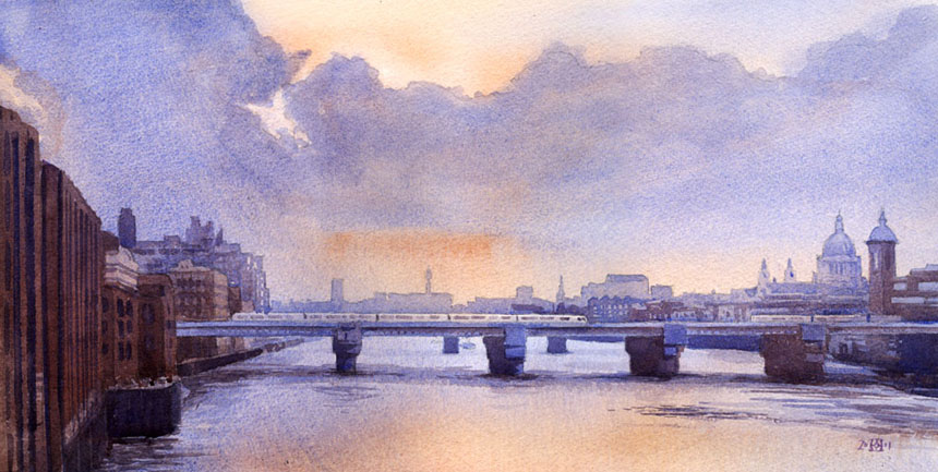 London Bridge, Thames, London, Cannon Street Station, watercolour, art