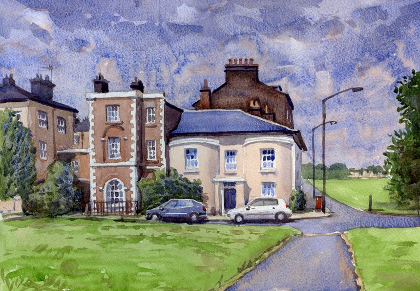 Blackheath, London, watercolour, plein air