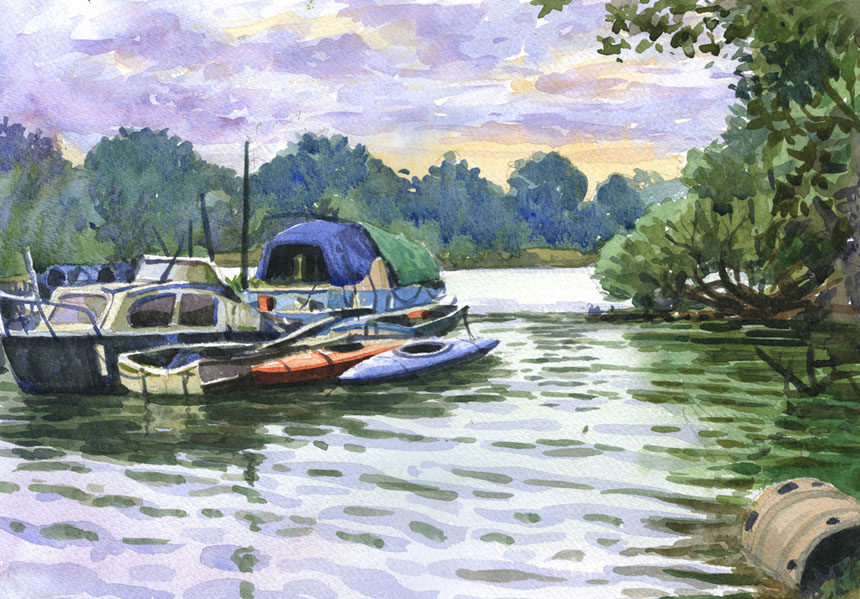 Boats, canoe, thames, Richmond