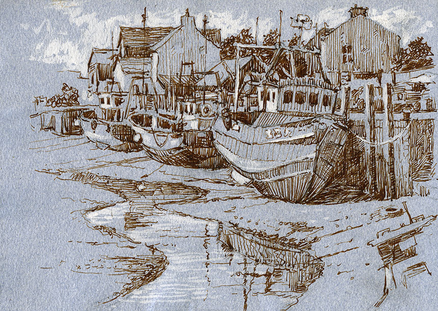 Queenborough, Sheppey, Kent, drawing, brass monkeys
