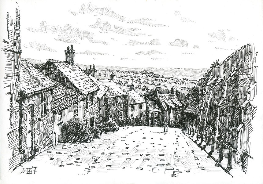 Shaftesbury, Golden Hill, Dorset, Pen and Ink, drawing