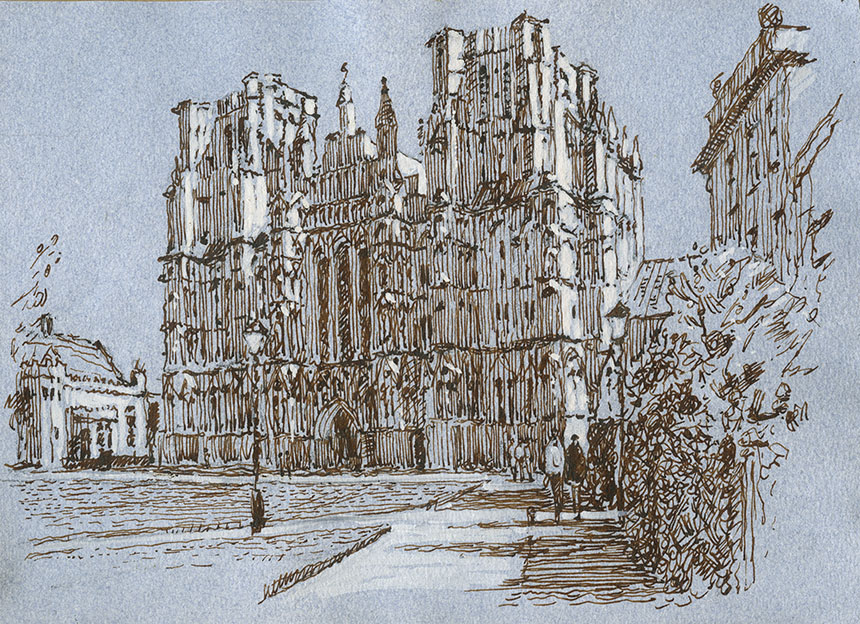 Wells, Cathedral, pen and ink, drawing
