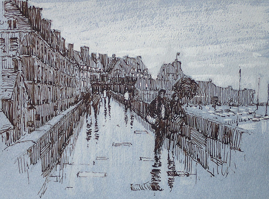 St Malo, France, Drawing, Pen and Ink