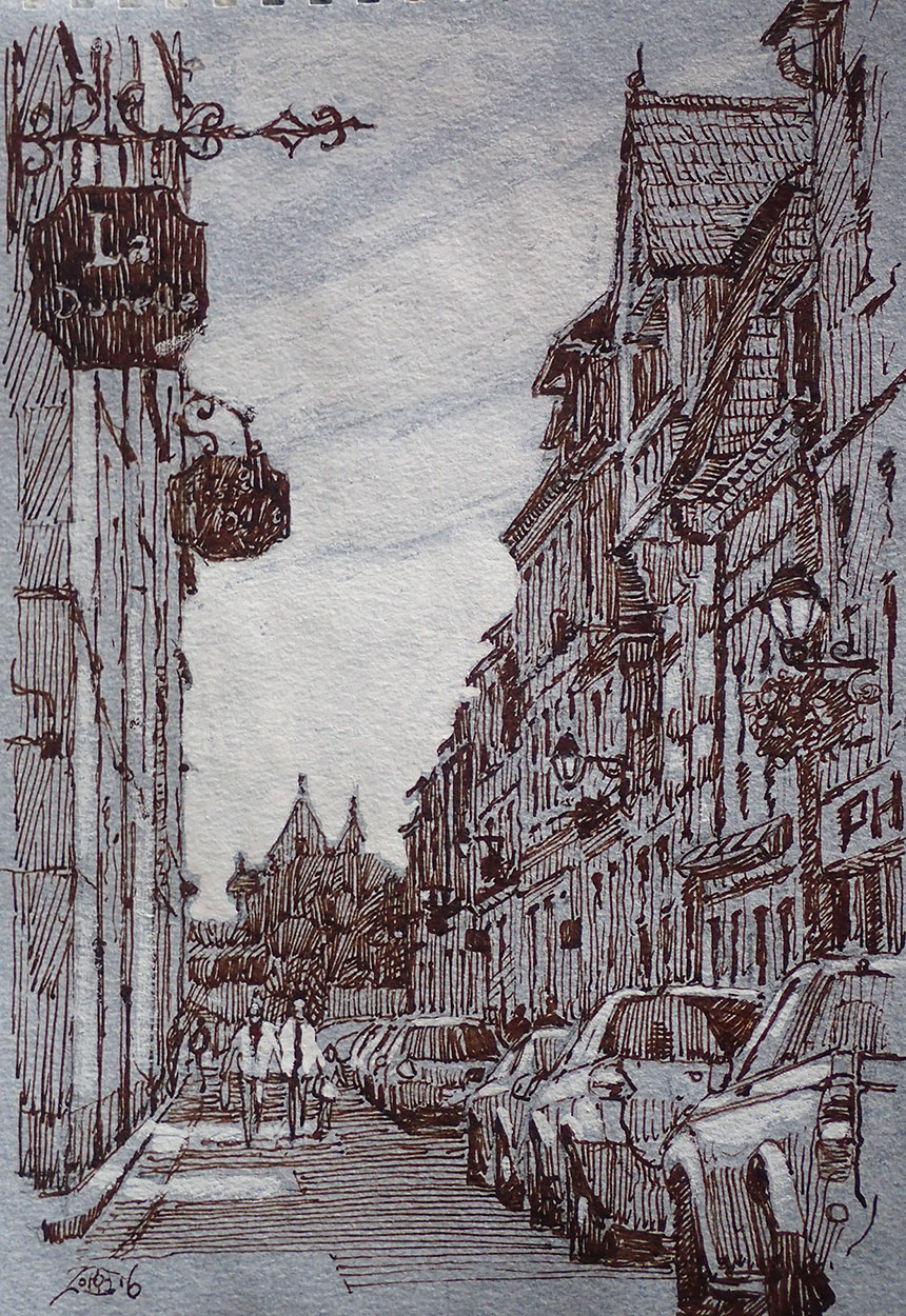 Villerville sur Mer, France, drawing, pen and ink