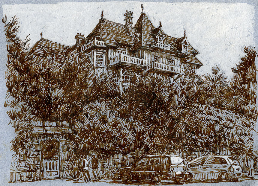 Villerville, france, drawing, pen and ink