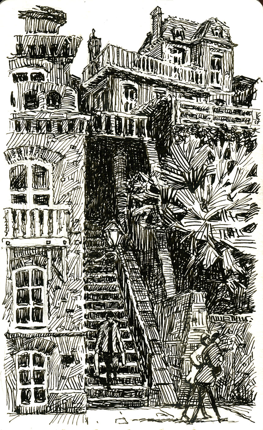 Villerville, steps, drawing, pen and ink, france