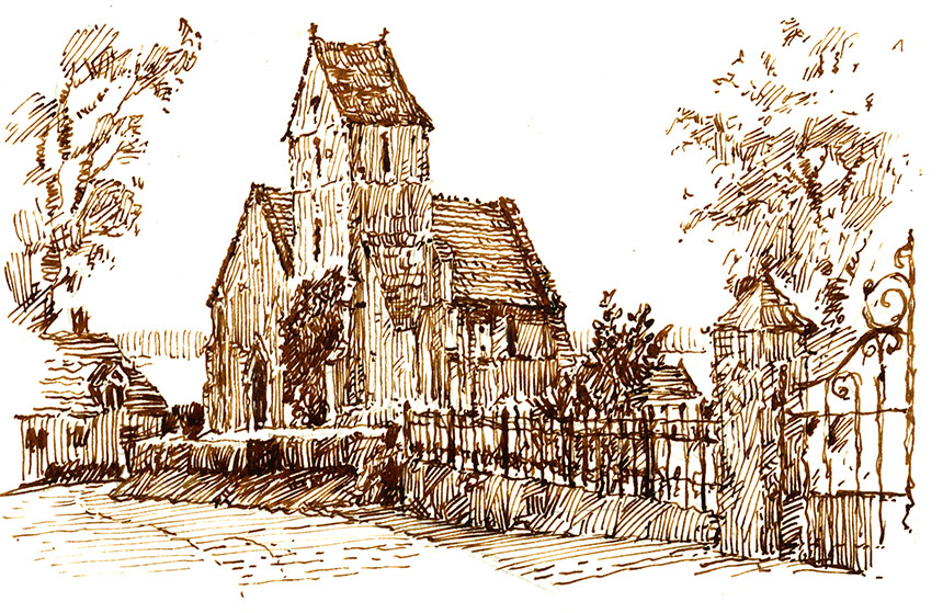 cricqueboef, France, church, drawing, pen and ink