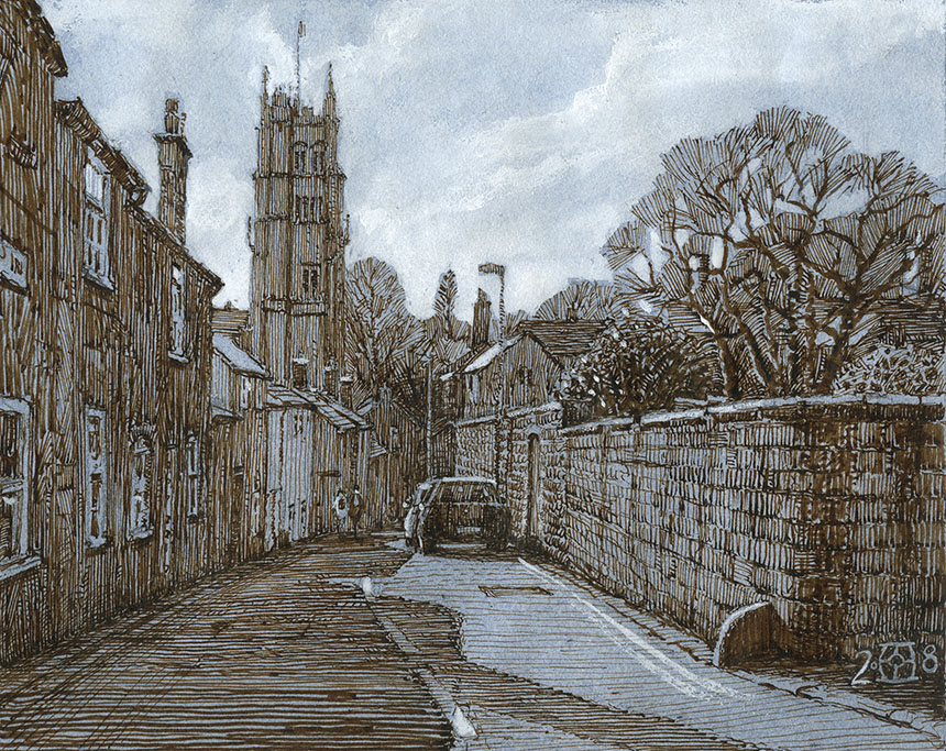 beaminster, Dorset, pen and ink, drawing