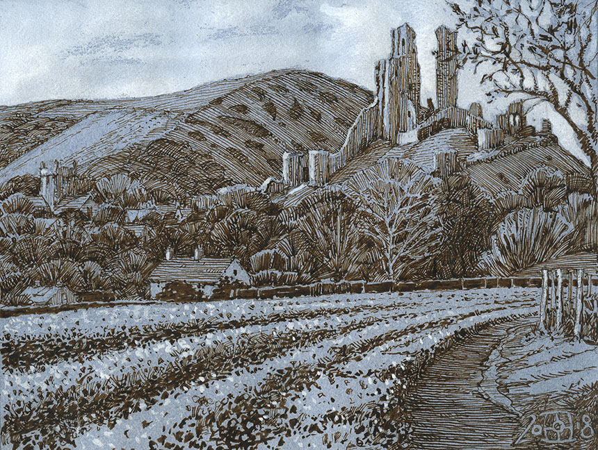 Corfe Castle, pen and ink, drawing, Dorset