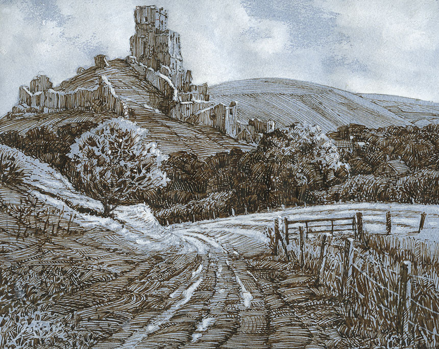 Corfe Castle, Dorset, pen and ink, drawing
