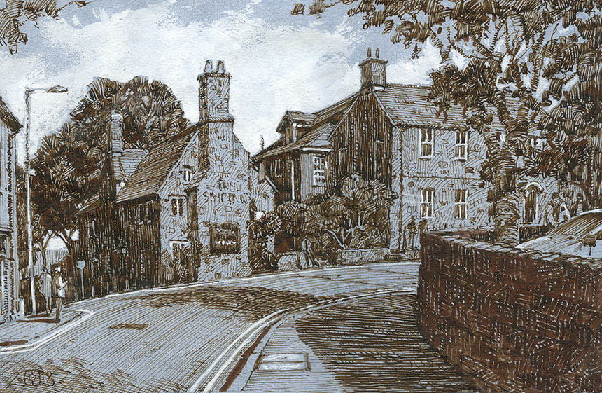 Shaftesbury, Dorset, Pen and Ink, drawing