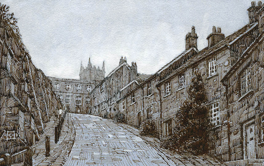 Gold Hill, Shaftesbury, Hovis, Dorset, pen and ink, drawing