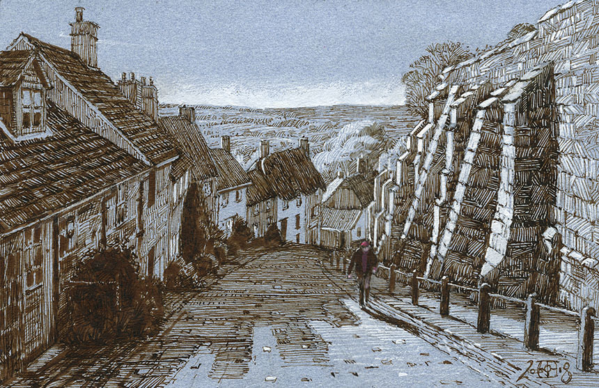 Gold Hill, Shaftesbury, Dorset, Pen and Ink, Drawing