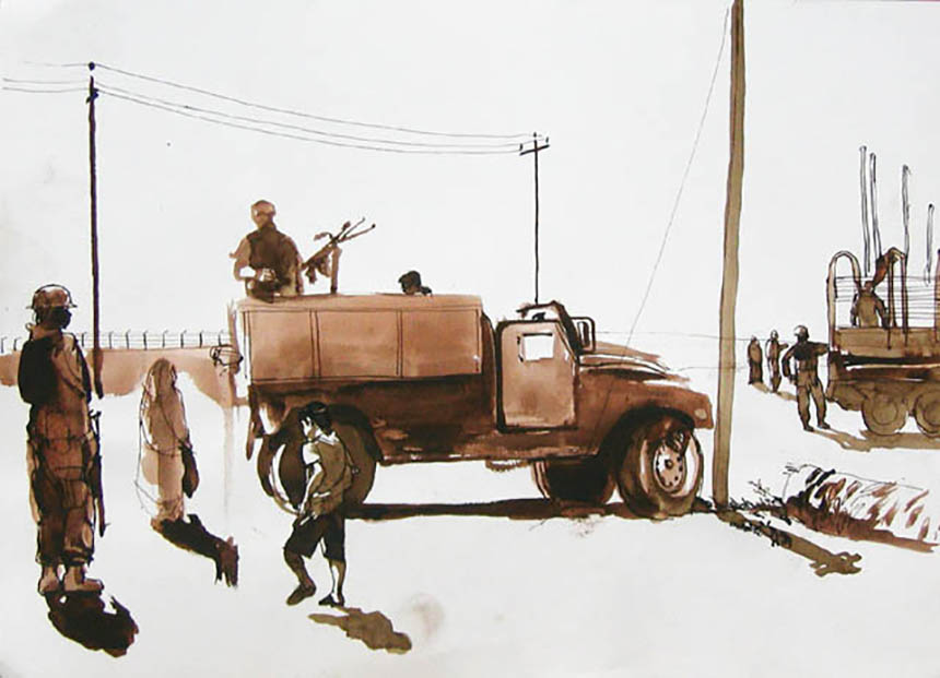 Steve Mumford, iraq,drawing