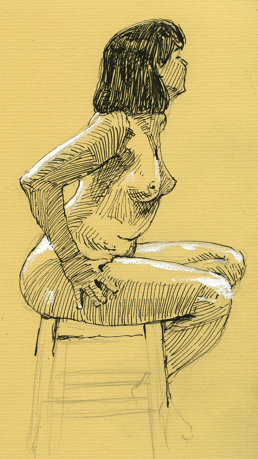 pen and ink drawing, life drawing, figure