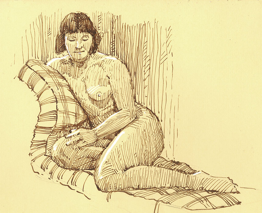 pen and ink drawing, figure drawing, life drawing