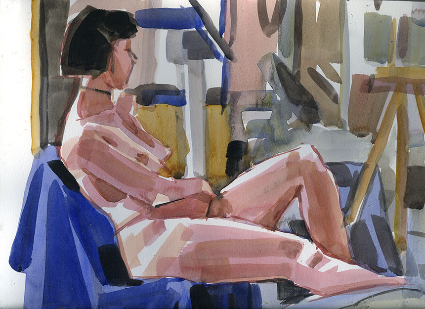 life drawing, watercolour